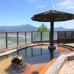 男性用露天風呂からは、遠く宝満山まで気持ち良く見渡せます。